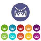 El tambor y los palillos fijaron iconos Fotos de archivo libres de regalías