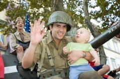 El tanque americano del bebé de los soldados Imagen de archivo