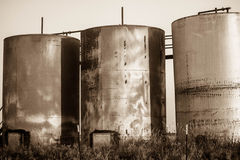 El tanque de aceite del campo petrolífero Tejas del oeste Fotografía de archivo libre de regalías
