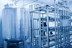 El tanque de almacenaje del agua del acero inoxidable Imágenes de archivo libres de regalías