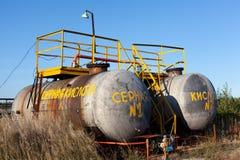 El tanque de almacenaje químico con el ácido sulfúrico Foto de archivo libre de regalías