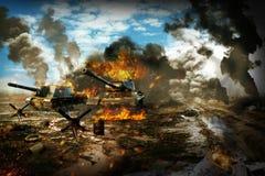 El tanque de batalla en la zona de guerra fotos de archivo libres de regalías