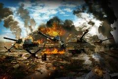 El tanque de batalla en la zona de guerra foto de archivo