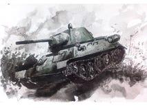 El tanque de la acuarela T-34 Fotografía de archivo libre de regalías
