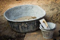 El tanque de mezcla concreto vacío Imagen de archivo