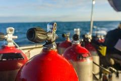 El tanque del aire comprimido del equipo de submarinismo Fotografía de archivo