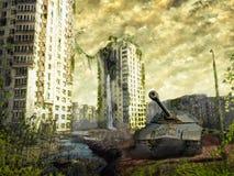 El tanque en las ruinas de la ciudad Paisaje apocalíptico Imagen de archivo