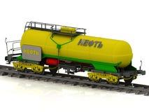 El tanque ferroviario con aceite de oro de la inscripción Fotografía de archivo libre de regalías