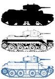 El tanque militar aislado en el vector blanco Fotos de archivo