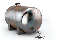 El tanque oxidado con aceite Imagen de archivo libre de regalías