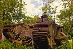 El tanque oxidado del alemán de WWI foto de archivo