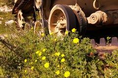 El tanque sirio explotado en la guerra Fotos de archivo libres de regalías