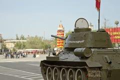 El tanque T-34 con la inscripción Imágenes de archivo libres de regalías