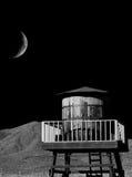 El tanque y luna de madera de agua Imagenes de archivo