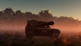 El tanque y sol aherrumbrados viejos en desierto ilustración del vector