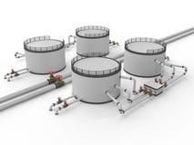 El tanque y tubería de almacenaje de petróleo Fotos de archivo