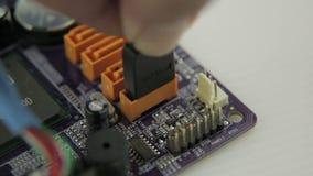 El tapar en el conector de SATA almacen de metraje de vídeo