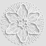 El tapetito de papel de encaje, flor decorativa, copo de nieve decorativo, mandala, grabó en relieve el modelo Fotos de archivo libres de regalías