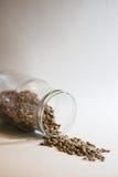 El tarro de cristal con linsen las semillas Foto de archivo libre de regalías