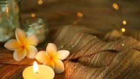 El tarro de cristal llenó de las conchas marinas, corales, artículos marinos con las luces de la vela, flores del frangipani del  metrajes