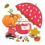 El tarro de la mermelada del otoño con los artículos del otoño le gusta la calabaza, paraguas, hojas Ilustración del vector en el Foto de archivo libre de regalías
