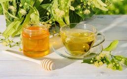 El tarro de la miel del tilo, del casquillo del té del tilo y de la rama con el tilo florece en un día soleado Foto de archivo