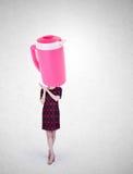 El tarro de la mujer o del agua dirigió a la muchacha con concepto en un fondo Fotografía de archivo