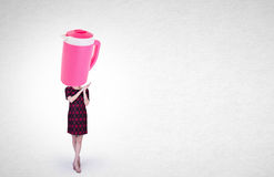 El tarro de la mujer o del agua dirigió a la muchacha con concepto en un fondo Fotografía de archivo libre de regalías