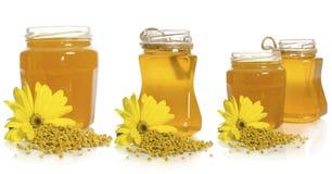El tarro de miel cerca de la pila y de la flor del polen Fotos de archivo libres de regalías