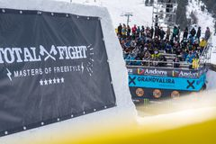 Fans in the grandstands enjoying the TOTAL FIGHT 2019 In Grandvalira. El Tarter, Andorra. 29 March 2019 royalty free stock images