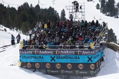 Fans in the grandstands enjoying the TOTAL FIGHT 2019 In Grandvalira.  stock images