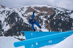 Snowboarder participating in the Total Fight 2019 Grandvalira Andorra. El Tarter, Andorra. 29 March 2019 : Snowboarder  participating in the Total Fight 2019 stock photo