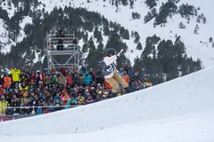 Snowboarder participating in the Total Fight 2019 Grandvalira Andorra. El Tarter, Andorra. 29 March 2019 : Snowboarder  participating in the Total Fight 2019 royalty free stock photo
