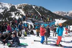 Snowboarder participating in the Total Fight 2019 Grandvalira Andorra. El Tarter, Andorra. 29 March 2019 : Snowboarder  participating in the Total Fight 2019 stock photography
