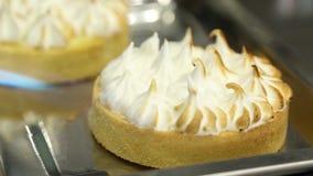 El Tartlet adorna, dulce de azúcar del pastel de queso, quemadura del borde, torta culinaria de la preparación de la decoración almacen de video