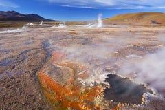 El Tatio喷泉在阿塔卡马沙漠,北智利 图库摄影