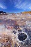 El Tatio喷泉在阿塔卡马沙漠,北智利 免版税库存图片