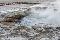 El Tatio喷泉,南半球的最大的喷泉接近圣佩德罗火山de阿塔卡马,卡拉马,安托法加斯塔高原的  免版税库存照片