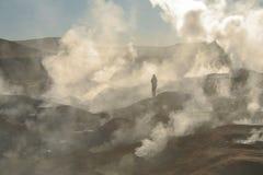 El Tatio -喷泉的看法在智利-阿塔卡马沙漠 库存图片