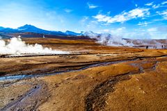 El Tatio, a geyser field located within the Andes Mountains of northern Chile at 4,320 meters above mean sea level. royalty free stock images