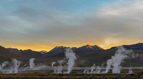 El Tatio Geyser Field at Sunrise, Atacama Desert, Chile royalty free stock images