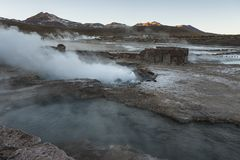 El Tatio geysers, the biggest geysers of the southern hemisphere close to the plateau of San Pedro de Atacama, Calama, Antofagasta. Chile , South America royalty free stock photography