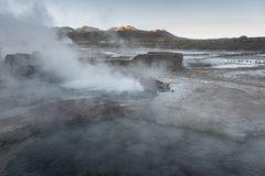 El Tatio geysers, the biggest geysers of the southern hemisphere close to the plateau of San Pedro de Atacama, Calama, Antofagasta. Chile , South America stock photos