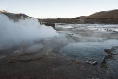 El Tatio geysers, the biggest geysers of the southern hemisphere close to the plateau of San Pedro de Atacama, Calama, Antofagasta. Chile , South America stock images