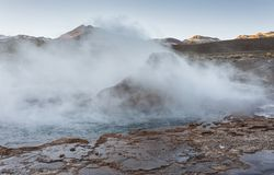 El Tatio geysers, the biggest geysers of the southern hemisphere close to the plateau of San Pedro de Atacama, Calama, Antofagasta stock photos