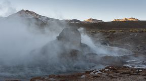 El Tatio geysers, the biggest geysers of the southern hemisphere close to the plateau of San Pedro de Atacama, Calama, Antofagasta stock images