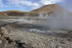 El Tatio Geysers in Chile. In the morning royalty free stock photo