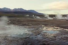 El Tatio Geysers. Sunrise at El Tatio Geysers near San Pedro de Atacama in Chile Royalty Free Stock Photo