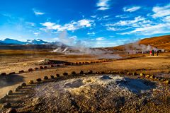 El Tatio is a geyser field located within the Andes Mountains of northern Chile at 4,320 meters above mean sea level. stock photography