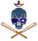 El tatuaje, el emblema de la cuadrilla o el logotipo criminal con los bates de béisbol agresivos del cráneo diseñan los elementos ilustración del vector